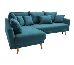 Canapé d'angle gauche convertible MIA Tissu bleu canard