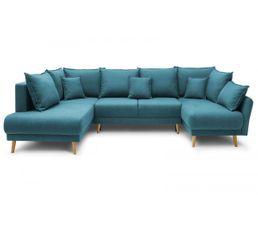 Canapé panoramique convertible MIA Gauche tissu bleu canard