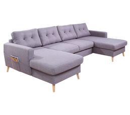 Canapé panoramique double méridienne tissu gris clair STOCKHOLM