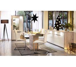 Table rectangle + allonge ST TROPEZ Blanc/chêne