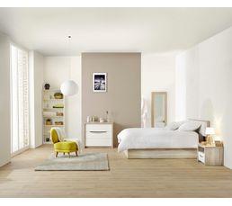 Lit 160x200 cm Saint Tropez imitation chene cendré / blanc