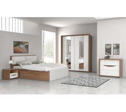 Commode 3 tiroirs Saint tropez imitation noyer/ blanc