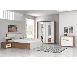 Chevet 1 tiroir Saint Tropez imitation noyer et blanc