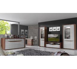Buffet 4 portes/2 tiroirs ST TROPEZ Blanc/noyer