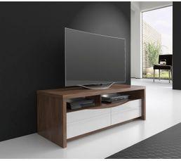 Meuble TV ST TROPEZ Blanc/noyer