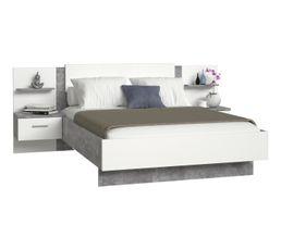 Lit 140x190 cm + 2 chevets suspendus GINGER béton gris clair et blanc mat