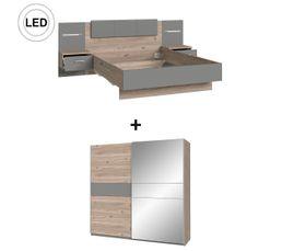 Chambre complète Lit 140x190 cm + armoire GINGER