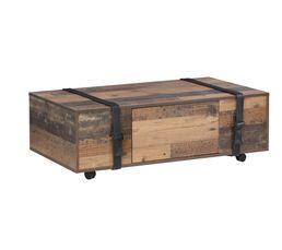 Table basse FOBYA Imitation vieux chêne et noir