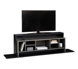 Meuble TV KART noir mat/ décor béton