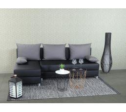 Canapé d'angle réversible convertible CUBIK simili noir et tissu gris