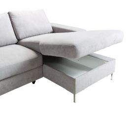 Canapé grand angle convertible LILLY Tissu gris clair