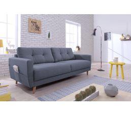 Canapé 3 places scandinave tissu gris bleu STOCKHOLM