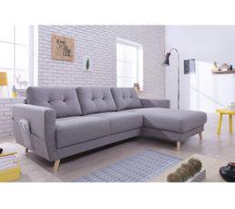 Canapé d'angle droit scandinave tissu gris STOCKHOLM