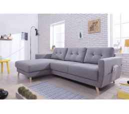 Canapé d'angle gauche scandinave tissu gris STOCKHOLM