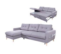 Canapé d'Angle Gauche Convertible Tissu Gris Clair STOCKHOLM Avec Coffre