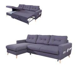 Canapé d'angle gauche convertible tissu Gris anthracite STOCKHOLM