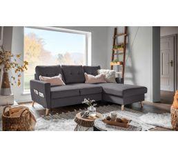 Canapé d'angle droit convertible tissu gris anthracite STOCKHOLM