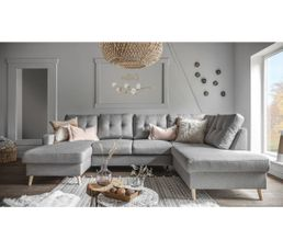 Canap grand angle droit scandinave convertible tissu gris for Reprise ancien canape
