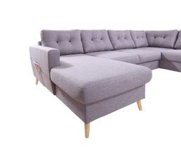 Canapé grand angle droit scandinave convertible Tissu gris clair STOCKHOLM