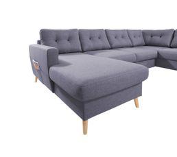 Canapé grand angle droit scandinave convertible Tissu gris foncé STOCKHOLM
