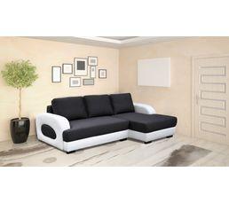 Canapé angle droit convertible ROCKY Tissu gris et blanc