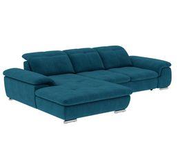 Canapé d'angle convertible méridienne gauche ANDY III tissu Bergamo bleu pétrole 86