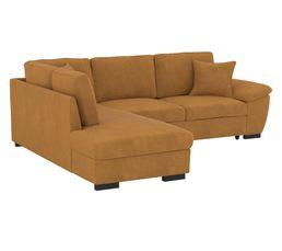 Canapé d'angle convertible récamière gauche JUNE tissu Apache cognac LIO
