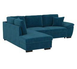 Canapé d'angle convertible récamière gauche JUNE tissu Bergamo bleu pétrole LIO