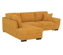 Canapé d'angle convertible récamière gauche JUNE tissu Enjoy mango LIO