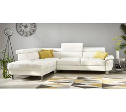 Canape D Angle Convertible Reversible William Ii Pu Blanc Canapes But