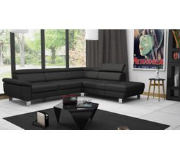 Canape D Angle Convertible Reversible William Ii Pu Noir Canapes But