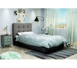 Lit 90x190 cm STANLEY Noir et gris
