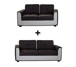 Canapé 2 places + 3 places Tissu gris et simili blanc CRUZZ