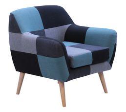 Fauteuil PATCH Tissu patchwork bleu
