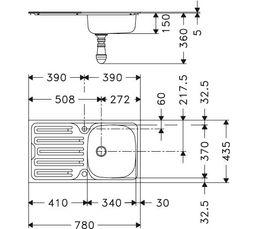 Evier 1 bac + 1 égouttoir COLIBRI CIX611 / Inox