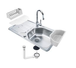 Lot évier + accessoires ALL IN ONE GLN611 / Inox