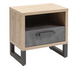 Chevet 1 tiroir 1 niche FACTORY imitation chêne et béton foncé