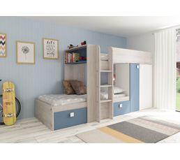 Lit superpos 2x90x190 cm melymelo ch ne blanc bleu lits - Lit superpose avec lit gigogne ...