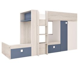 Lit superposé 2x90x190 cm MELYMELO Chêne/blanc/bleu