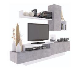 Meuble TV KASTLE Imitation béton et blanc