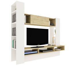 Meuble TV nature BECCIO Blanc et Bois