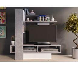 Meuble Tv Ostral Béton Et Blanc Brillant Meubles Tv But