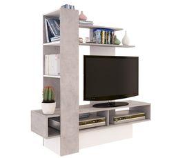 bd2e5dab11fd88 Meuble TV OSTRAL Béton et blanc Brillant