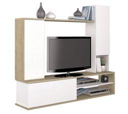 Meuble TV nature BARRANI Blanc et Bois