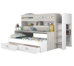 Lit superposé Multifonctions JULES imitation chêne et blanc 2 lits + bureau +2 tiroirs
