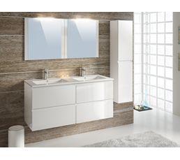 Meuble de salle de bain FIDJI 120 cm + colonne suspendue Blanc