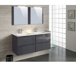 Meuble de salle de bain 120 cm FIDJI Gris anthracite - Meuble De ...