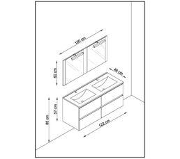Meuble de salle de bain 120 cm FIDJI Gris anthracite