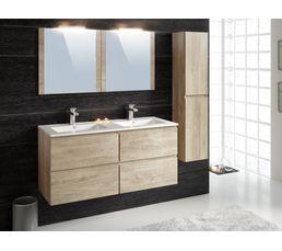 Meuble de salle de bain FIDJI 120 cm + colonne suspendue Chêne