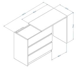 2 en 1 : Rangement + bureau BLAKE Blanc et chêne